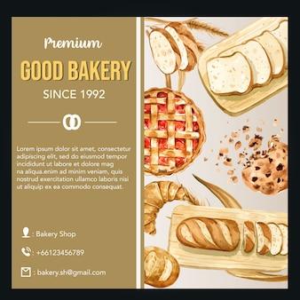 베이커리 소셜 미디어 템플릿입니다. 빵과 빵 모음. 집에서 만든