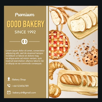 Bakery social media template. bread and bun collection. home made