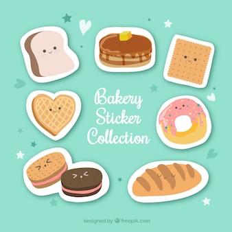 Коллекция наклеек для хлебопекарни в плоском стиле