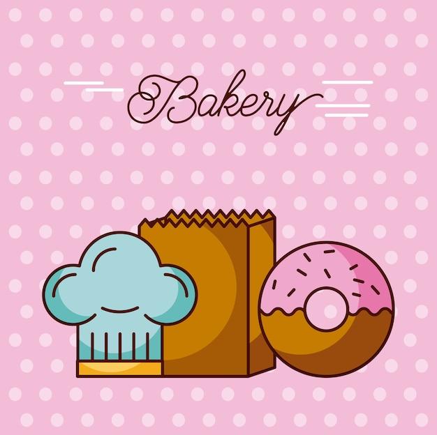 Хлебобулочные сладкие пончики шляпу шеф-повар и бумажный мешок точки фона