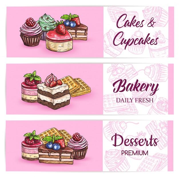 Пекарня сладостей и десертов баннеры