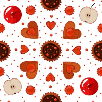 Bakery sweets and cookies seamless pattern