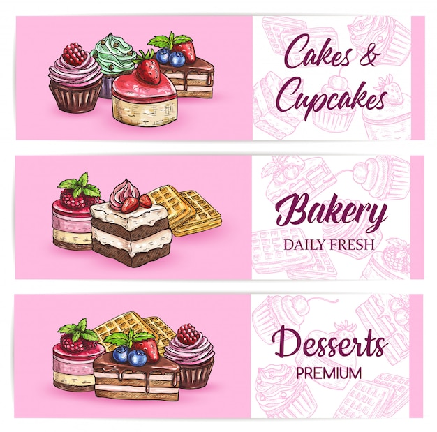 Bakery sweets and desserts  banners
