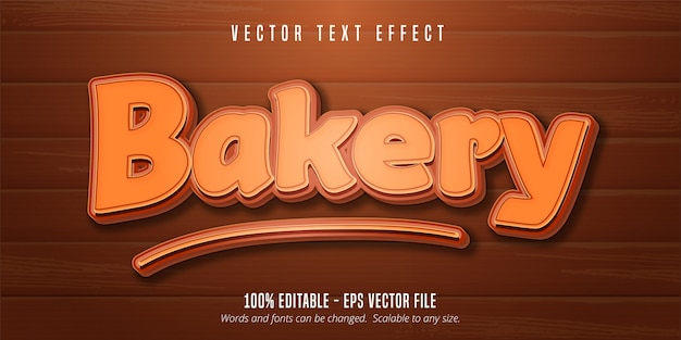 Bakery text, pastry style editable font effect on wooden background