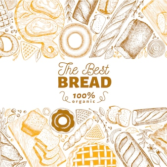 Bakery top view frame. hand drawn vector illustration with bread and pastry on chalk board.