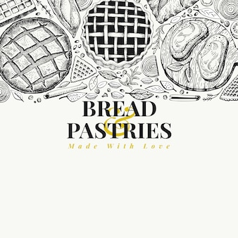 Bakery top view frame. hand drawn vector illustration with bread and pastry. vintage design template. can be use for menu, packaging.