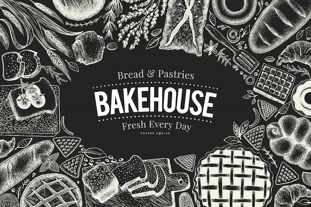 Рамка взгляд сверху хлебопекарни на доске мела. нарисованная рукой иллюстрация вектора с хлебом и печеньем.