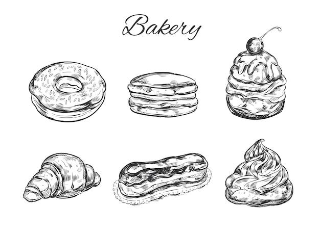 Коллекция старинных хлебобулочных изделий. рисованной иллюстрации.