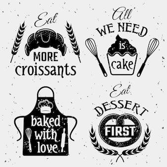 Пекарня с набором цитат монохромный