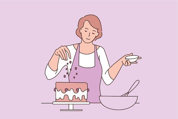 베이킹과 달콤한 음식 개념입니다. 갓 구운 케이크 벡터 일러스트 레이 션에 장식을 추가 하는 앞치마에 젊은 웃는 여자 베이커