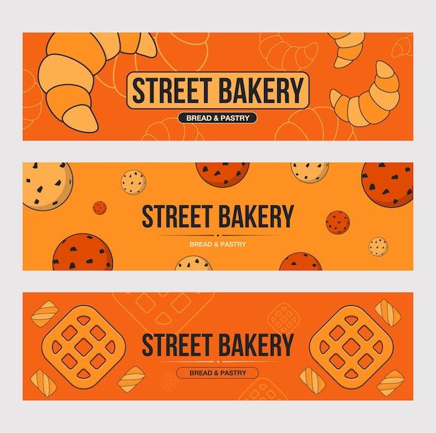 ベーキングバナーセット。オレンジ色の背景にテキストとビスケット、クロワッサン、クッキーのイラスト。