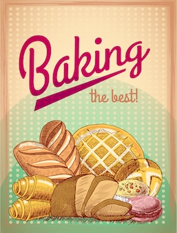 Baking the best pastry food, bread and cake assortment vector illustration