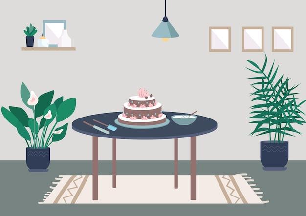 베이킹 생일 케이크 평면 컬러 일러스트
