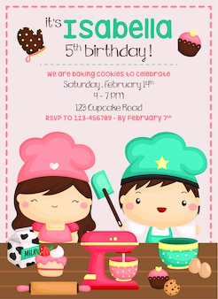 Baking birthday invitation design