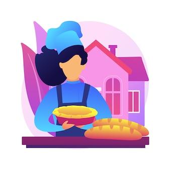 베이킹 빵 추상적 인 개념 그림. 검역 요리, 가족 레시피, 베이킹 효모