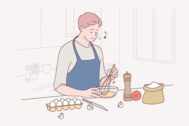 Выпечка, приготовление пищи, изготовление домашней выпечки или торта.