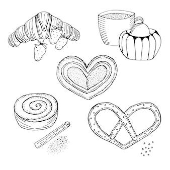Выпечка на завтрак, векторные иллюстрации, рисованный эскиз