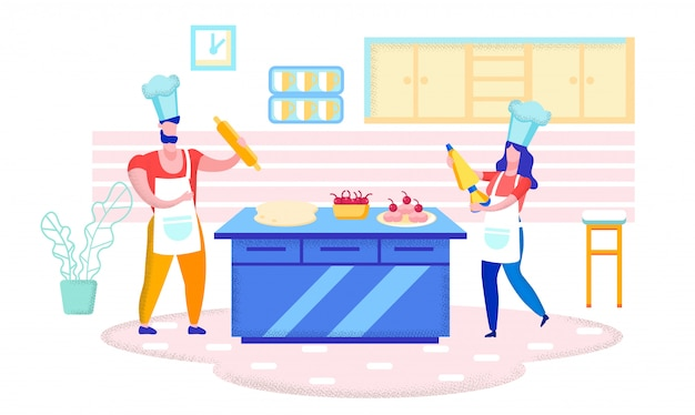 Baking handmade cakes, sweets in home kitchen