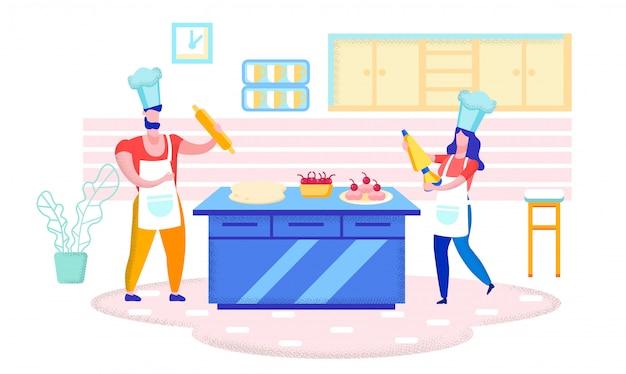 家庭の台所で手作りのケーキやお菓子を焼く