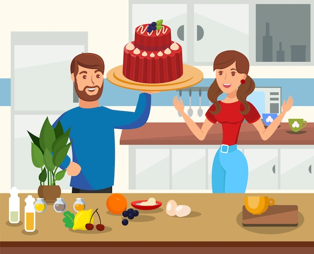 Baking at home flat cartoon vector illustration