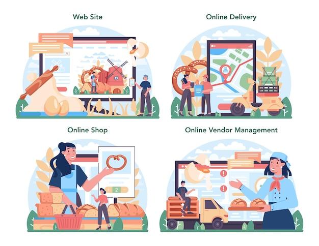 製パン業界のオンラインサービスまたはプラットフォームセット。ペストリーベーキングプロセス