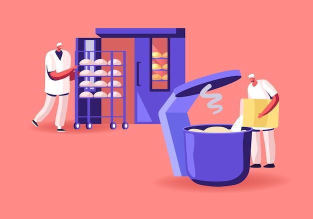 제빵 산업 공장. 노동자들은 거대한 믹서에 신선한 빵을 섞은 반죽을 준비하고 생 덩어리를 오븐에 넣습니다. 만화 평면 그림
