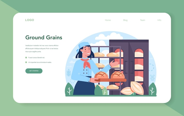 Baking industry web banner or landing page. pastry baking process and retail. bakery worker making dough and pastries goods. isolated vector illustration
