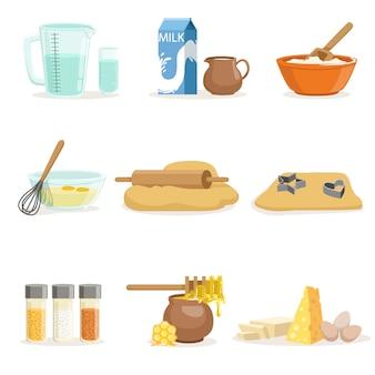 Ингредиенты для выпечки и кухонные инструменты и посуда набор реалистичных иллюстраций мультфильма с приготовления объектов, связанных