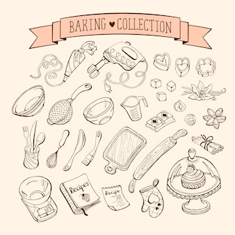 Baking items collection in doodle style