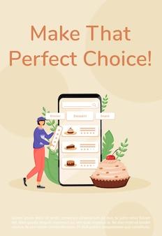 Выпечка онлайн-заказа плаката плоский шаблон. брошюра ресторана и сертифицированного меню домашней кухни, концептуальный дизайн буклета на одну страницу с героями мультфильмов. флаер по выбору десертов, буклет