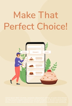 Baking online ordering poster flat template. restaurant and certified home-kitchen menu brochure, booklet one page concept design with cartoon characters. desserts choice flyer, leaflet