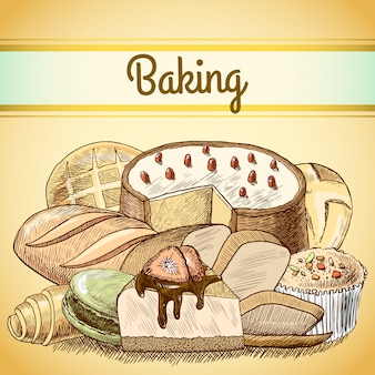Baking pastry vintage drawing