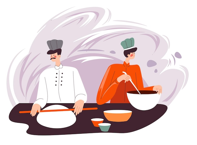 Baking tasty buns or pizza base, baker with rolling pin cooking food for restaurant or diner. helper on kitchen making chocolate topping for dish. recipe of confectionery pastry. vector in flat style