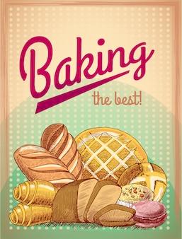 Выпечка лучшие кондитерские изделия, хлеб и торт ассорти, векторная иллюстрация