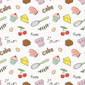 Baking theme doodle seamless background vector illustration