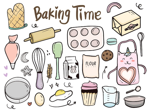 Baking time tools and cake doodle illustration drawing cartoon for kids