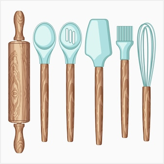 Baking tools vector illustration set