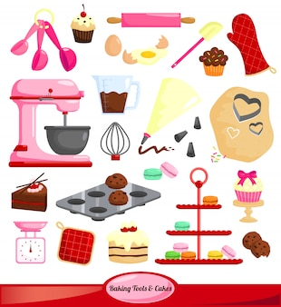 Baking tools vector set