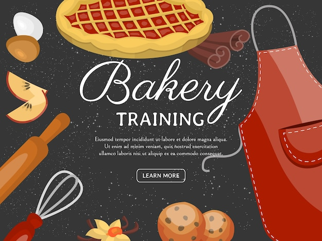 Baking training school banner. chocolate fruity desserts sweet cake shop with cupcake