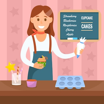 Baking workshop flat color vector illustration