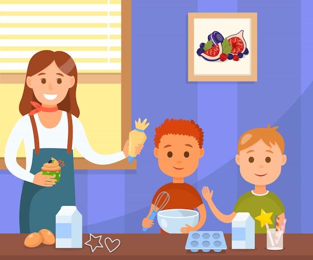 Baking workshop flat color vector illustration