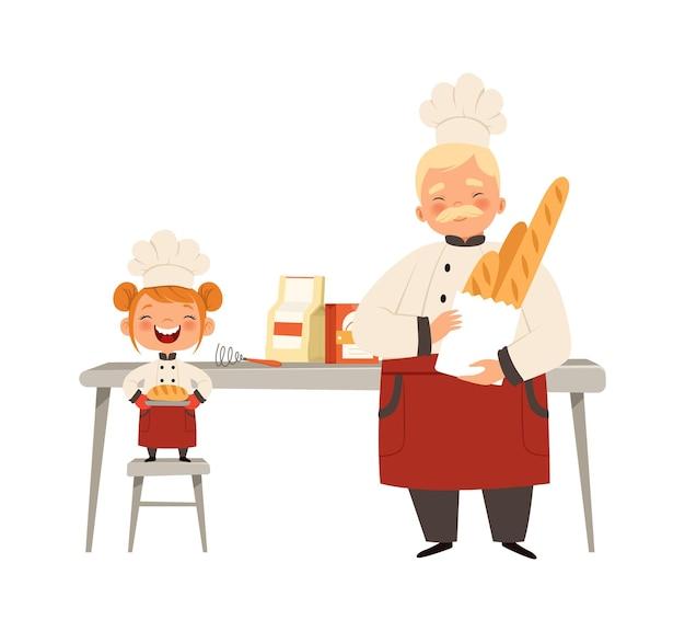 베이킹 워크샵. 웃는 소녀와 요리사 유니폼 요리 신선한 빵. 할아버지 벡터 일러스트와 함께 행복한 시간
