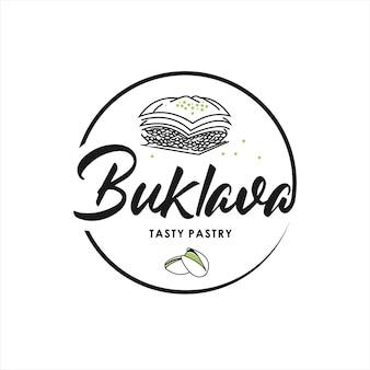 Baklava logo pastry and bakery vector