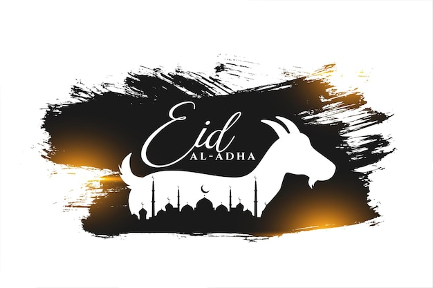 Bakrid wishes greeting background with goat and mosque design