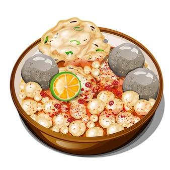 Bakso aci 또는 매운 국물에 타피오카 미트볼 인도네시아 음식 평면도