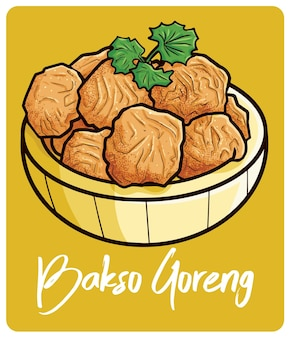 Bakso goreng a traditional food from indonesia in cartoon style