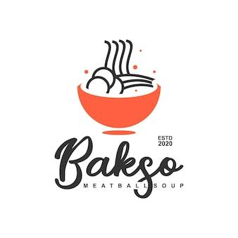 Баксо означает фрикадельки логотип простой весело еда вектор
