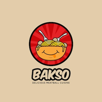 Bakso meatball bowl restaurant logo icon with full of noodle and smile face