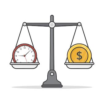 Баланс между деньгами и временем значок иллюстрации.