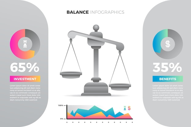 Баланс инфографики в разных цветах